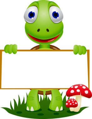 Cute turtle holding blank signboard