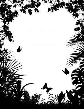 Tropical forest silhouette background