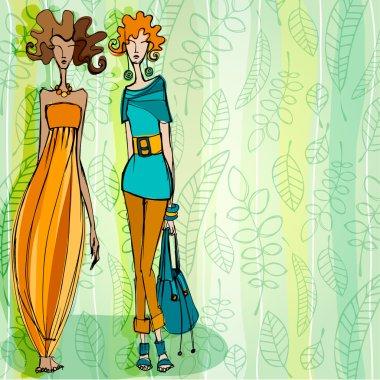 Modern fashion background with elegant stylized fashion models
