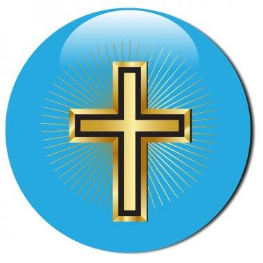 3d golden cross icon.Vector