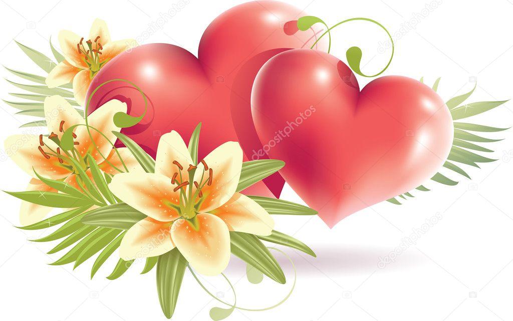 Fleurs de lys avec coeur rouge image vectorielle annadrozd 6037523 - Coeur avec des fleurs ...