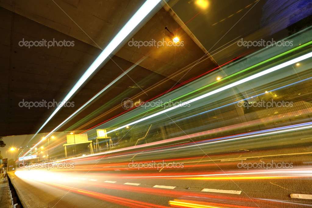 Фотообои Light trails in mega city