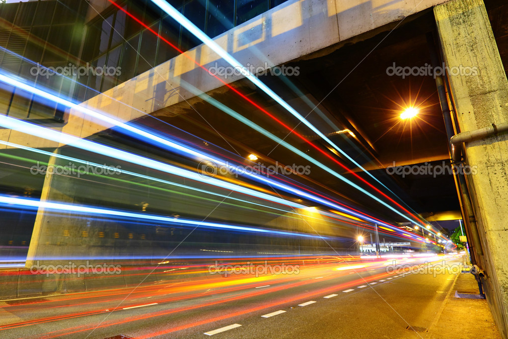 Фотообои Light trails in city at night