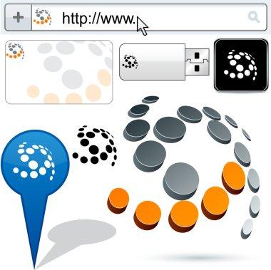 Business 3D swirl logo design.