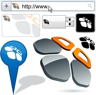 Business 3D flower logo design.