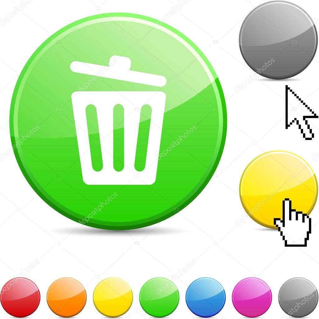 recycle bin glossy button   u2014 stock vector  u00a9 maxborovkov