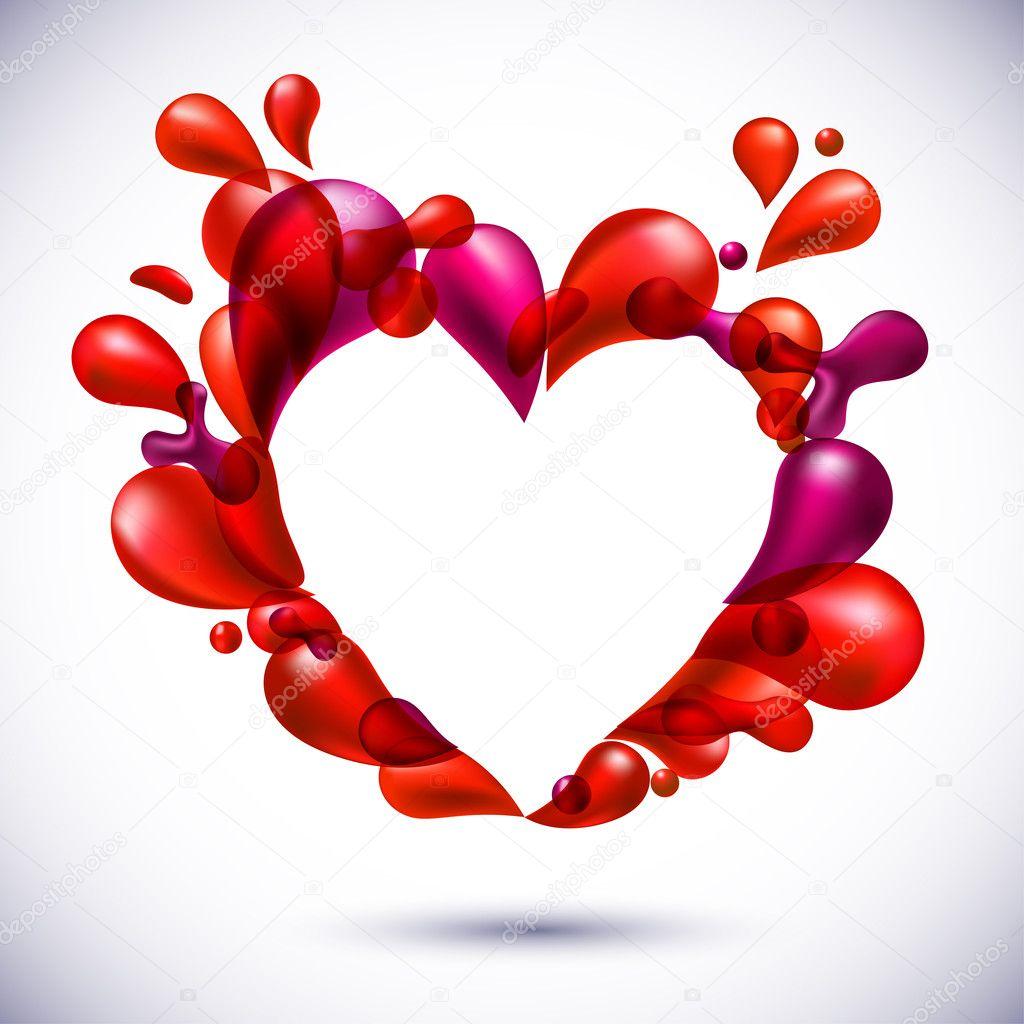 Vector illustration of red love balloons heart shape. clipart vector