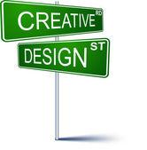 Creative-design direction sign.