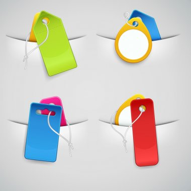 Set of colourful price tags in the pockets