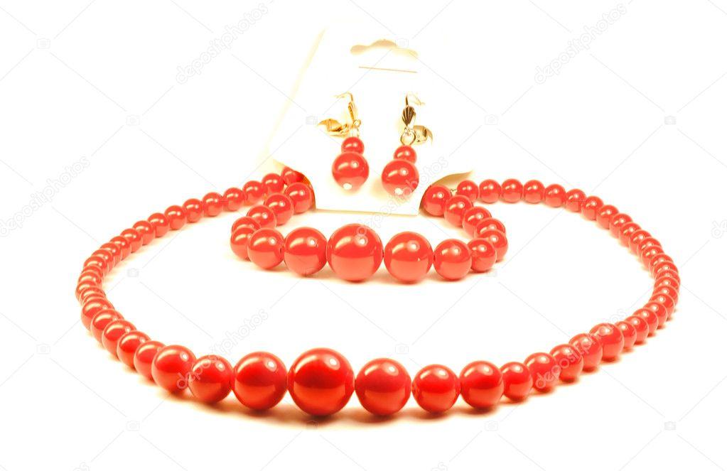 ohrringe, armbänder, halsketten koralle — Stockfoto © onrika #5966823