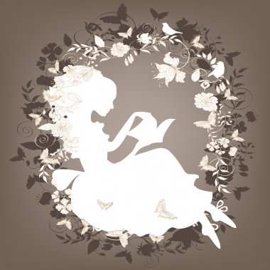 Vintage background with flowers, bird and girl reading book. stock vector