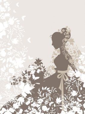 Vintage background with flowers and bride silhouette. clip art vector