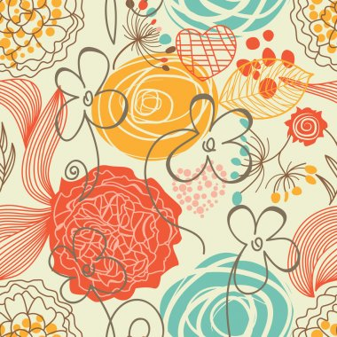Retro floral seamless pattern stock vector