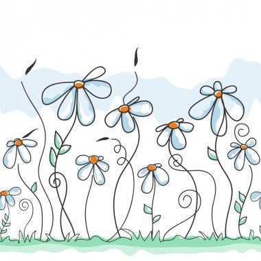 Cute flowers background (seamless pattern)