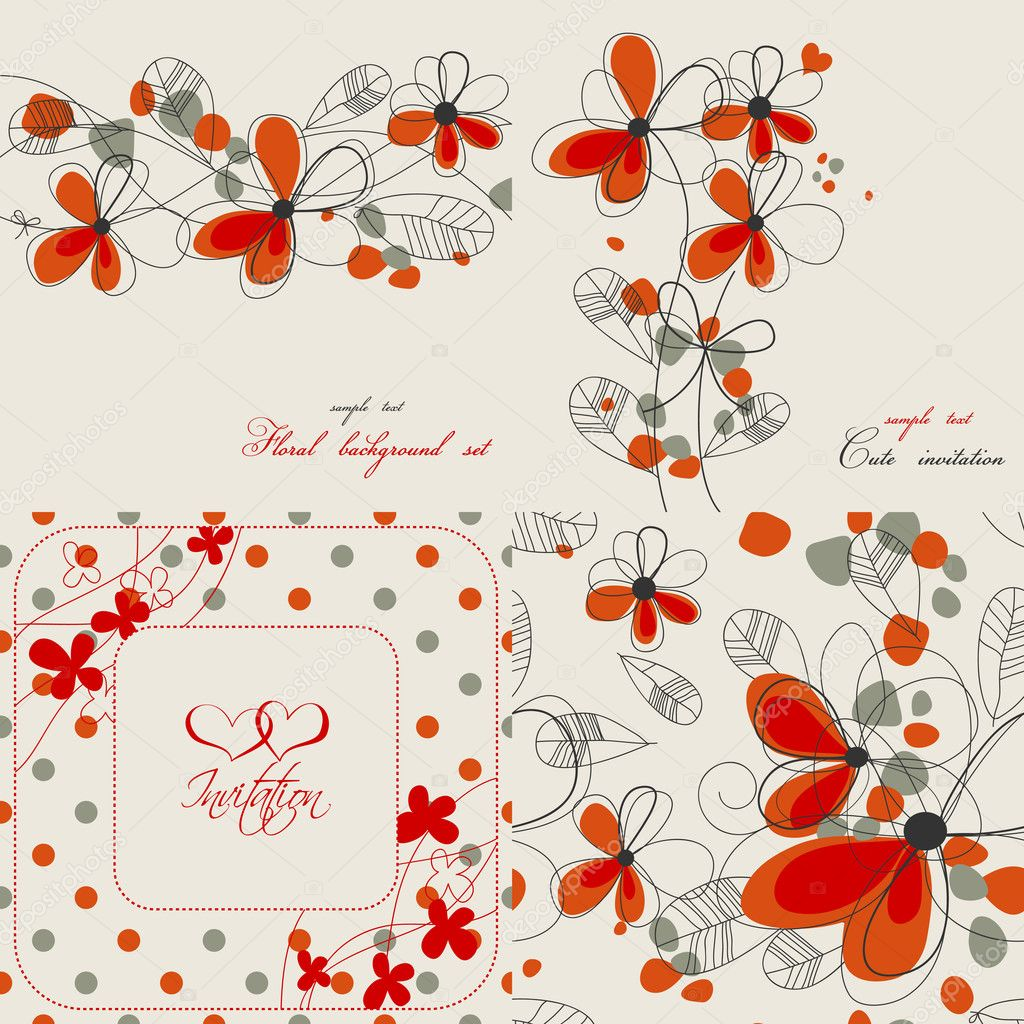 Set Of Cute Floral Backgrounds Stock Vector C Danussa 5588987