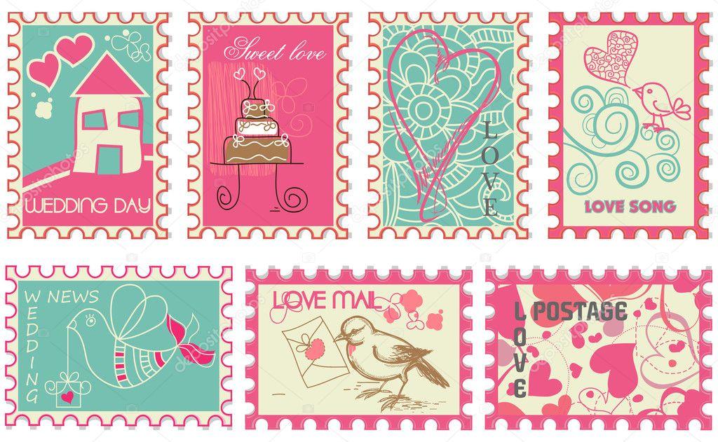sellos de boda retro lindo u vector de stock