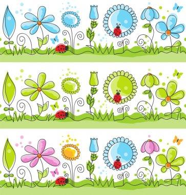 Summer floral decorative lines