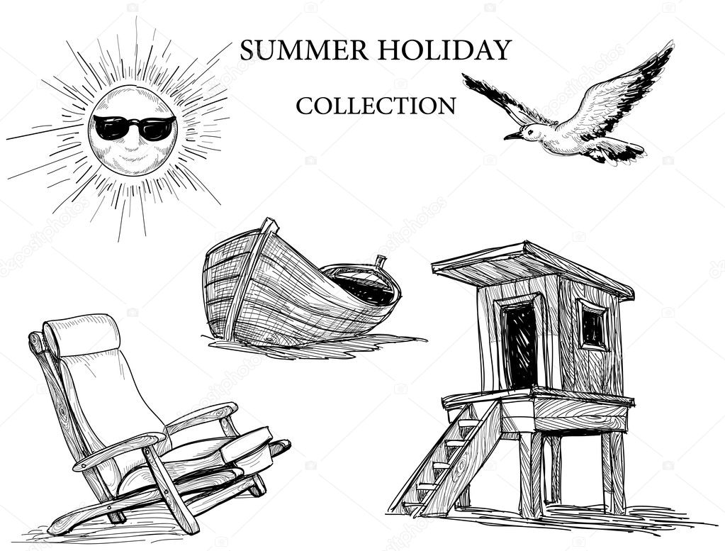 Summer Beach Collection Of Drawings Stock Vector 5904297