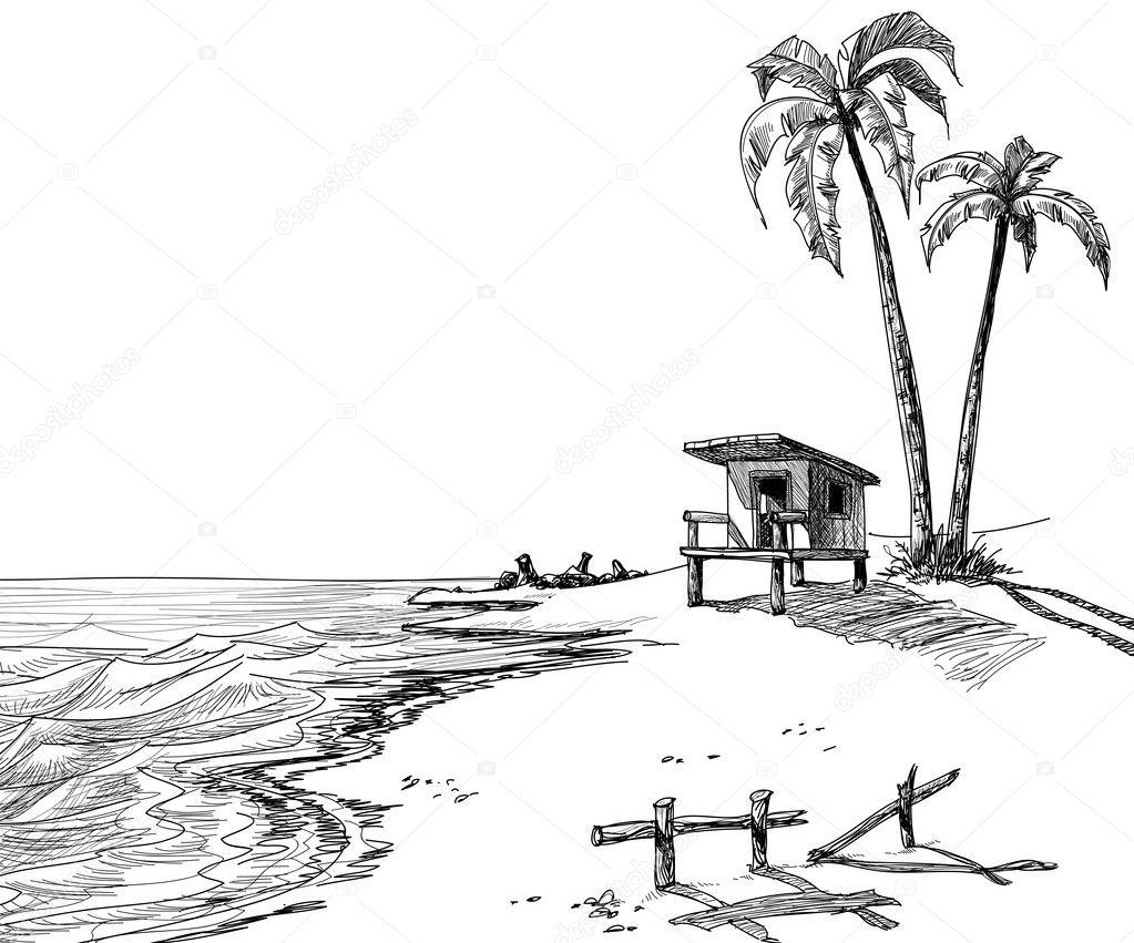 Summer beach sketch