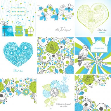 Set of greeting cards clip art vector