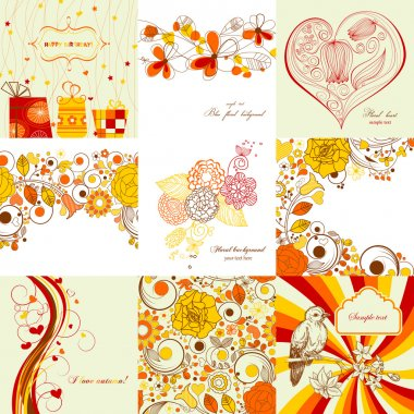 Vector set of greeting cards in autumn colors clip art vector