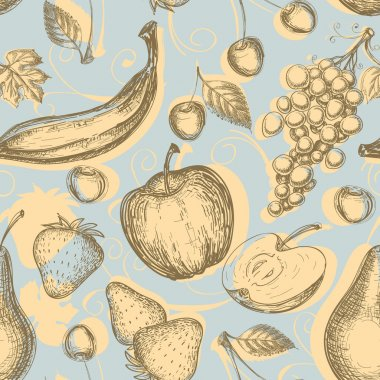 Vintage fruits seamless pattern