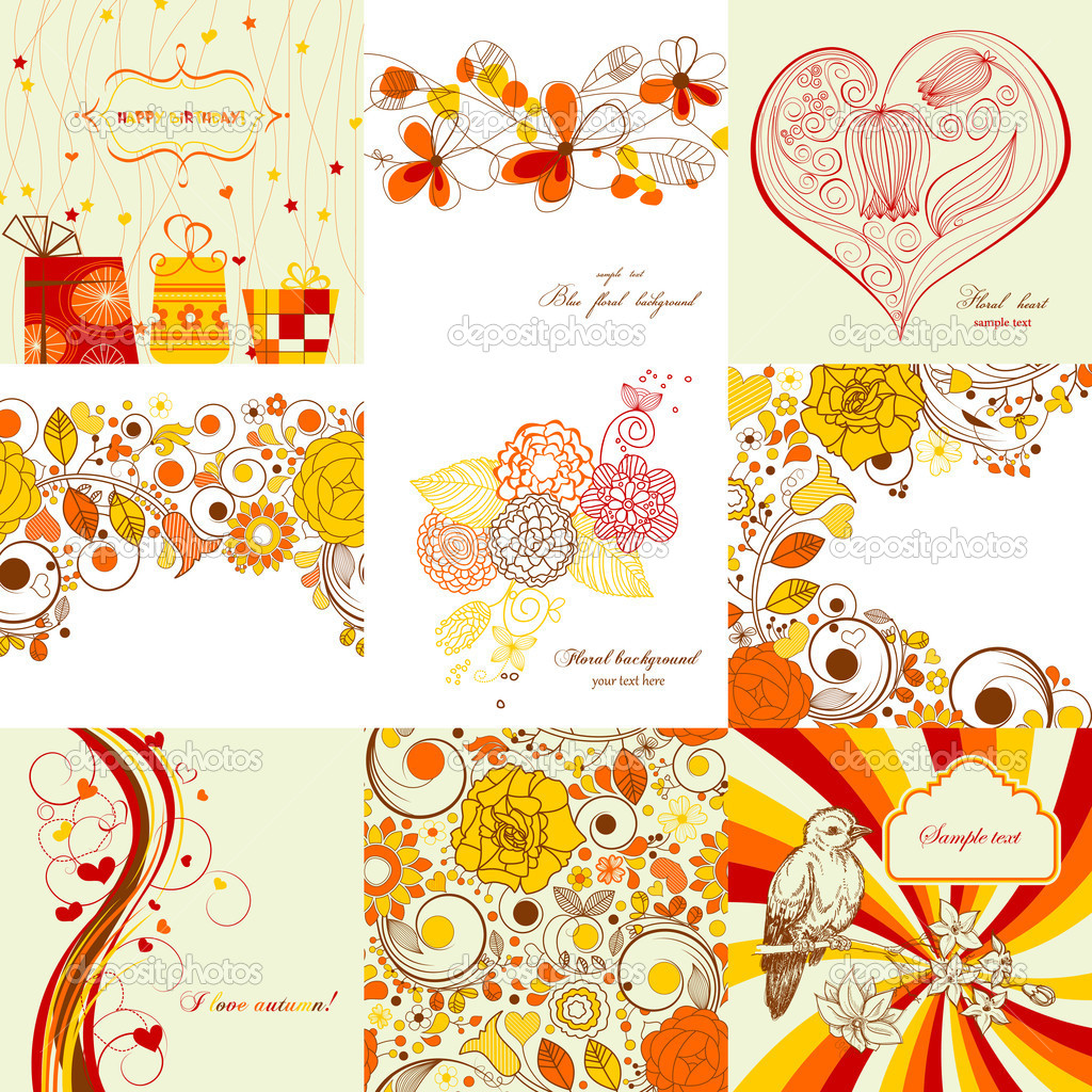 Vector set of greeting cards in autumn colors