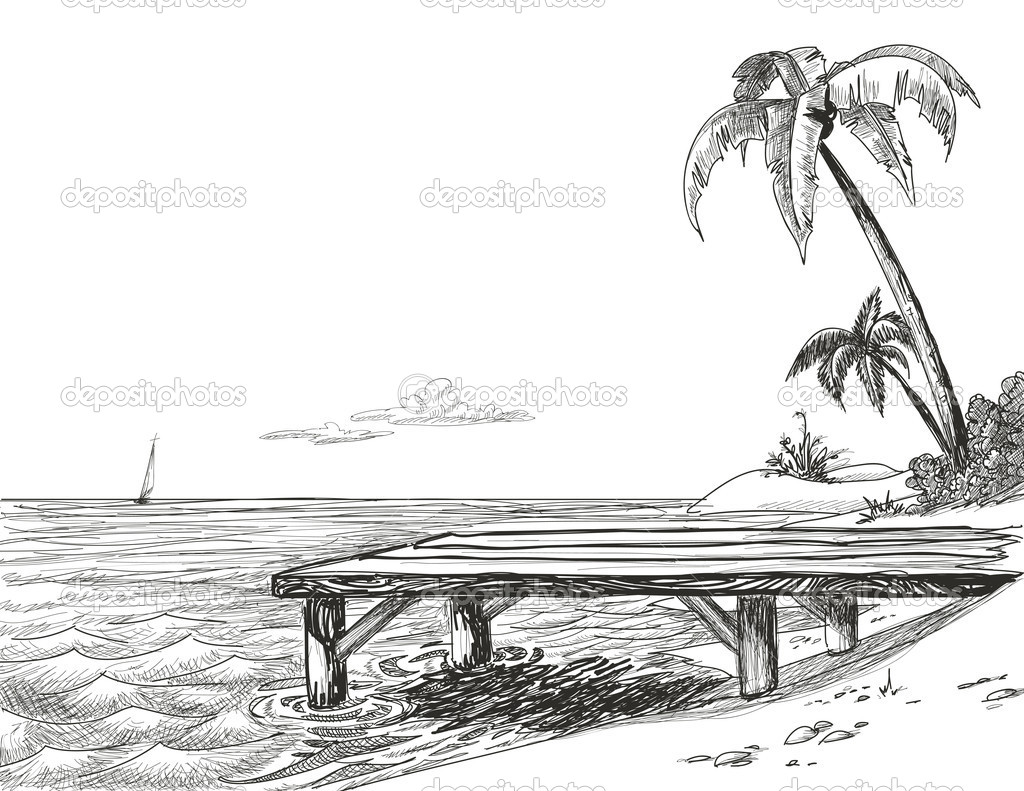 Beach, sea and wooden jetty