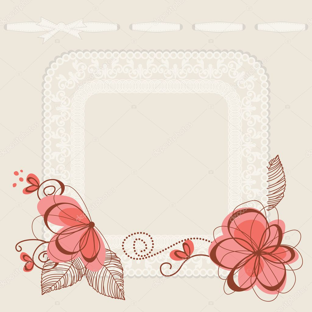tarjeta de invitación floral, marco de encaje para el texto — Vector ...