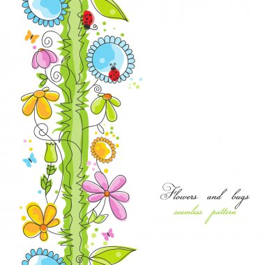 Flowers and bugs cartoon seamless pattern