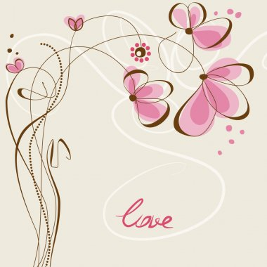 Love floral card stock vector