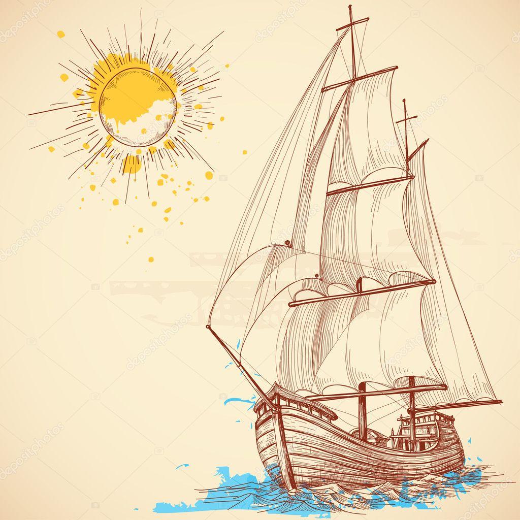 Vector sailing boat