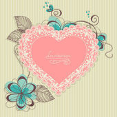 Retro romantic background, lace heart and flowers
