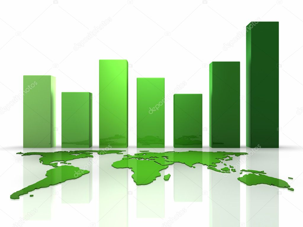 Green business graph with continents, 3d render