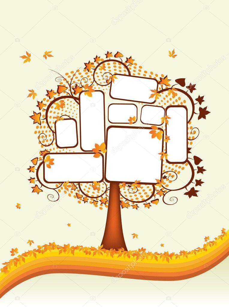 Осеннее дерево с местом для текста — Векторное изображение ...