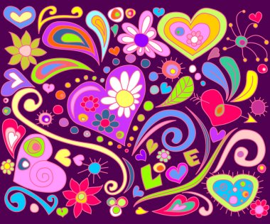 Colorful doodle with hearts and flowers stock vector