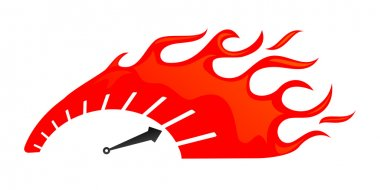 Stylized speedometer on fire stock vector