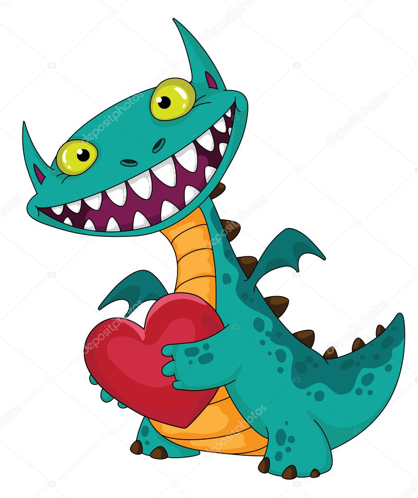 Laughing dragon and heart