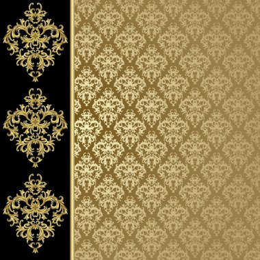 Black and golden background with abstract plant stock vector