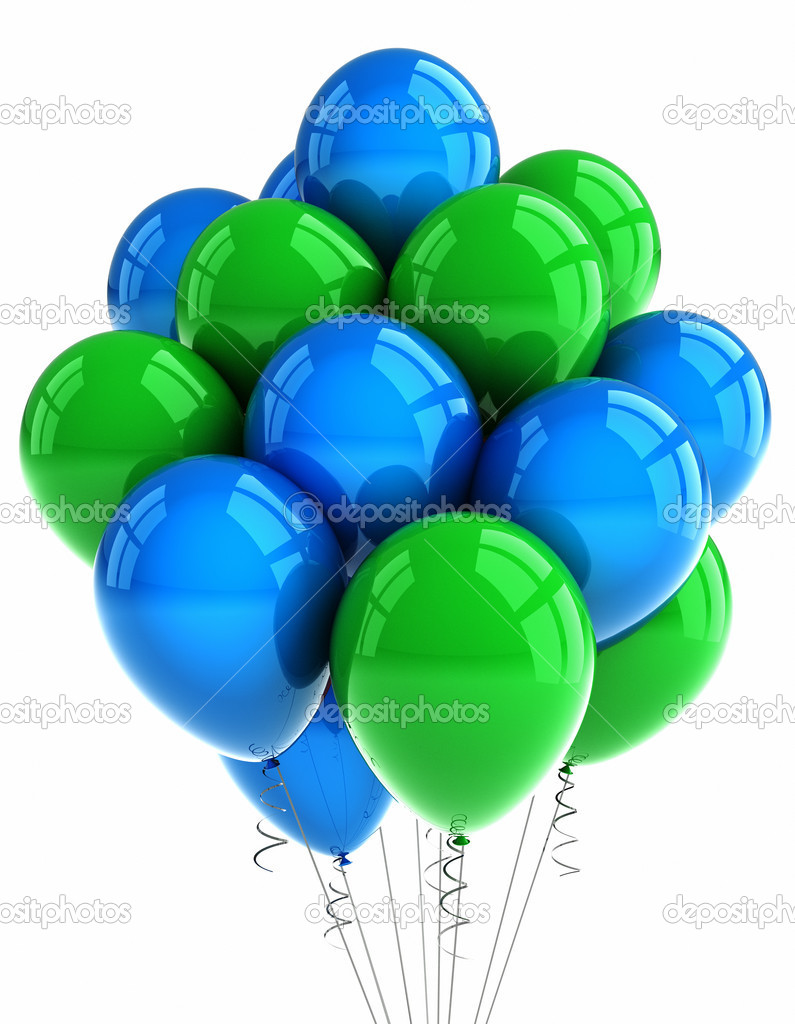 Green and blue balloons - A Bunch Of Green And Blue Party Balloons Over White Background Photo By Creisinger