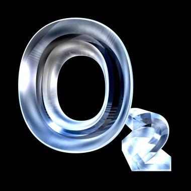 3d chemistry formulas in glass of Oxygen