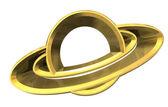 Saturn platet symbol ve zlatě - 3d udělal