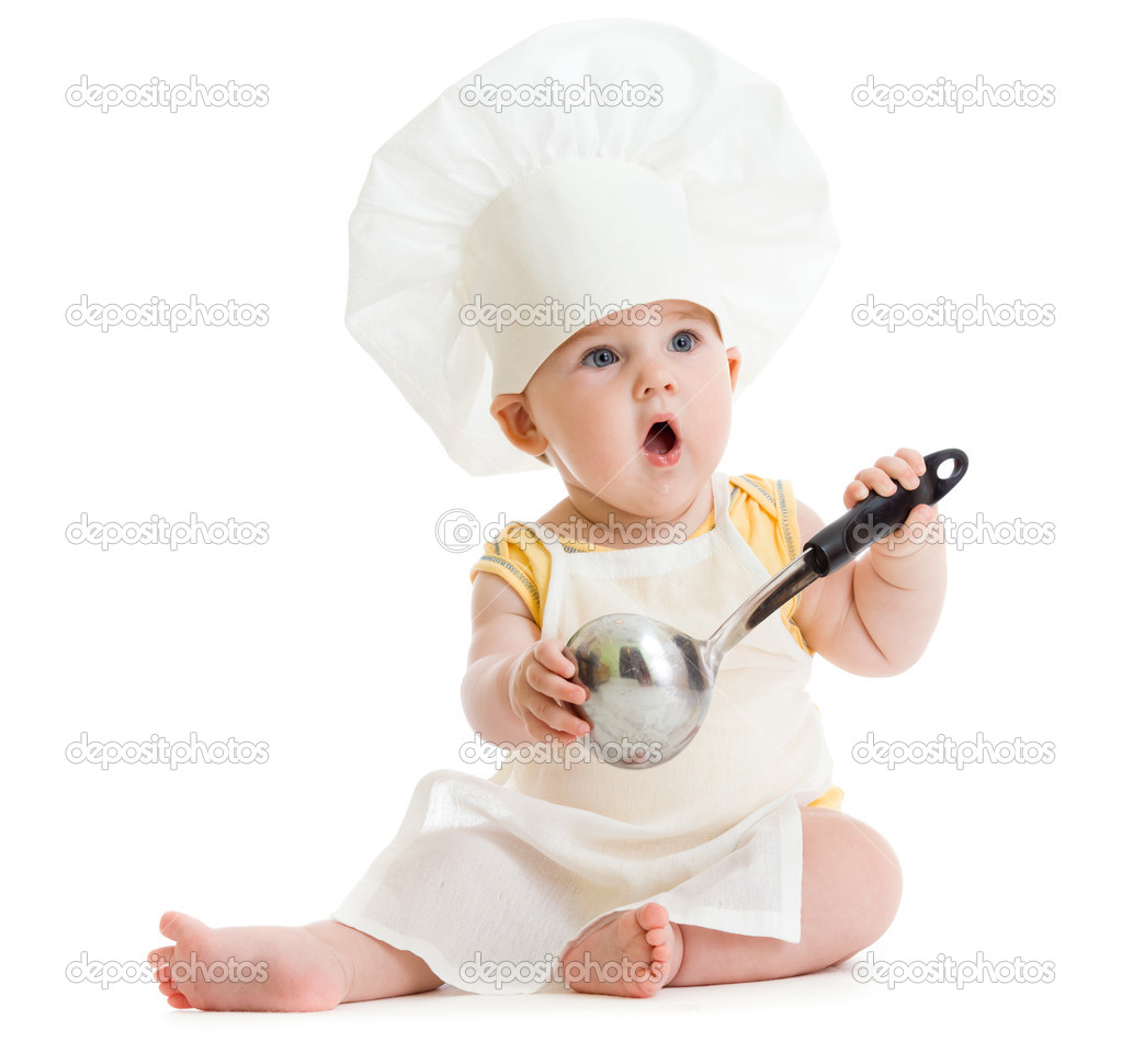 Little boy with metal ladle and cook hat isolated — Stock Photo ... 6a34ea83b968