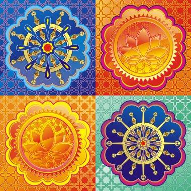Set of lotus and Dharmacakra - dharma wheel stock vector