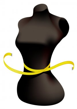 Mannequin and measuring tape.