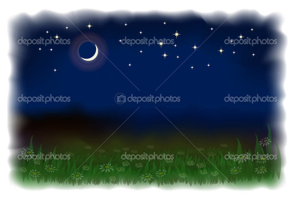 Meadow with daisies. Night landscape with the moon and stars. N