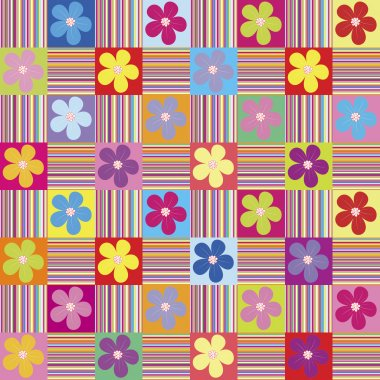 Pattern wth colored flowers and stripes