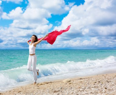 Pretty young woman raising her hands with fabric on beach stock vector
