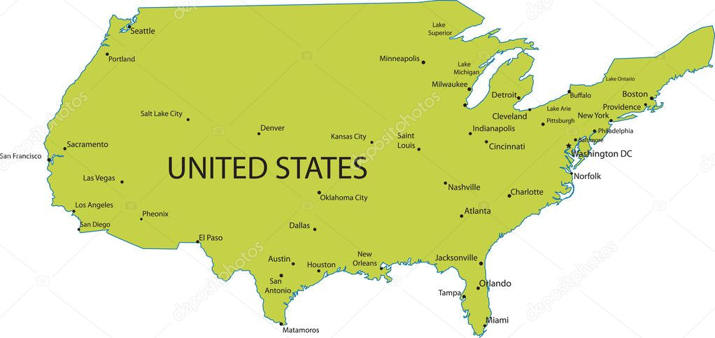 Images: usa map with cities | Map of USA with major cities ...