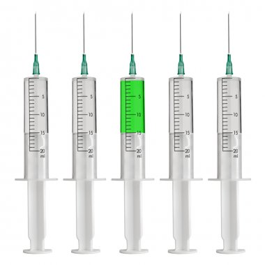 The differs syringe filled with a color liquid isolated on white